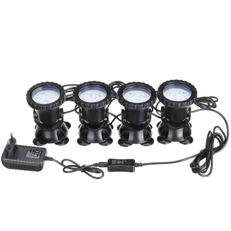 Lámpara de punto LED RGB Fuente de piscina subacuática Acuario + Control remoto AC100-240V