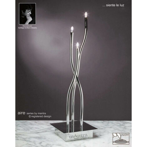 Lámpara de sobremesa Aire 3 Bombillas G4, cromo pulido altura 45 Cm