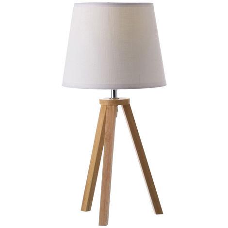 Lámpara de sobremesa blanca Nórdica de madera Natural