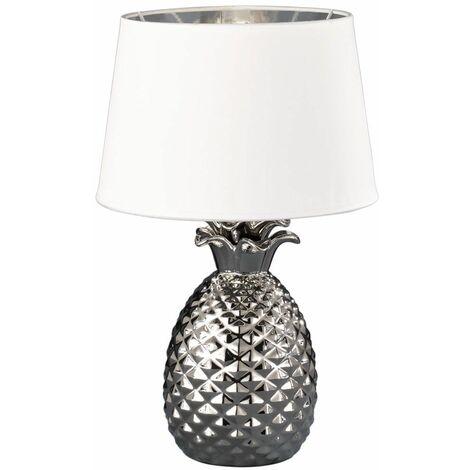 Lámpara de sobremesa cerámica diseño piña plata salón textil lámpara blanca en un conjunto incluye lámpara LED