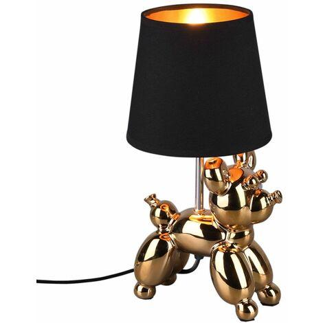 Lámpara de sobremesa de cerámica GOLD perros diseño salón textil lectura lámpara SCHWARZ Reality R50241079