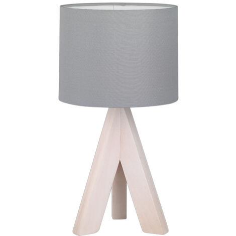 Lámpara de sobremesa de madera y tela gris modelo Ging E14 (Trio Lighting 50741042)