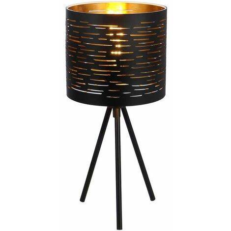 Lámpara de sobremesa negra redonda, 3 patas dorado