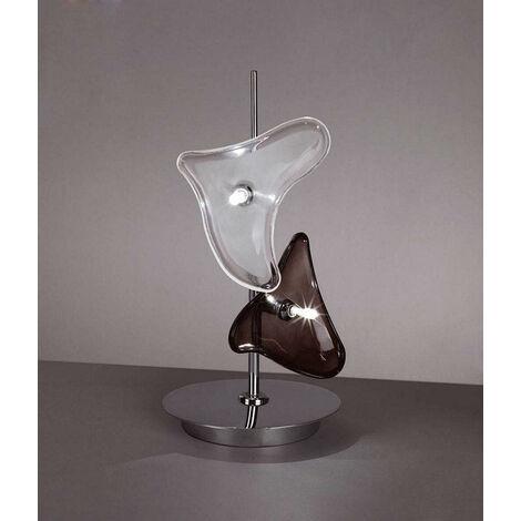 Lámpara de sobremesa Otto 2 Bombillas G4, cromo pulido / vidrio esmerilado / vidrio negro