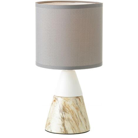 Lámpara de Sobremesa, realizada en Cerámica, de color Blanco y Beige. Diseño de Mármol, con estilo Moderno - Hogar y Más