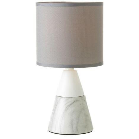 Lámpara de Sobremesa, realizada en Cerámica, de color Blanco y Gris. Diseño de Mármol, con estilo Moderno - Hogar y Más