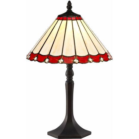 Lámpara de sobremesa Tiffany Calais 1 Bombilla Roja 50 Cm