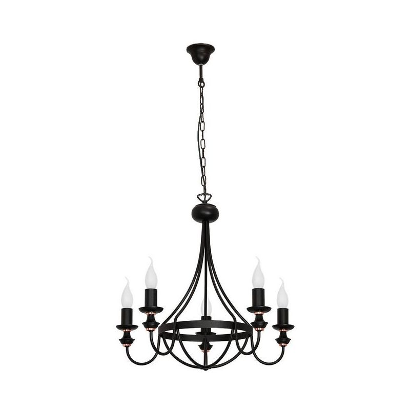 Lampara de Suspension Aster - Lampara de techo - Lampara de techo - Negro en Metal, 50 x 50 x 105 cm, 5 x E14, 40W - HOMEMANIA