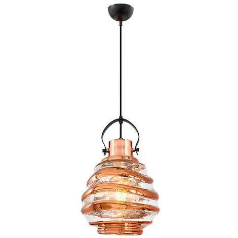 Lampara de Suspension Atlantik Colgante - de Techo - Multicolor en Vidrio, Metal, 20 x 20 x 120 cm, 1xMax 40W, E27