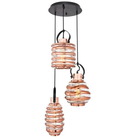 Lampara de Suspension Atlantik Colgante - de Techo - Multicolor en Vidrio, Metal, 35 x 35 x 120 cm, 3xMax 40W, E27