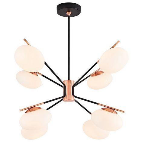 Lampara de Suspension Balb Colgante - de Techo - Oro Rosa, Negro, Blanco en Vidrio, Metal, 78 x 78 x 80 cm, 8 x G9, Max 5W, 3000K, 4000LM Luz Blanca Natural
