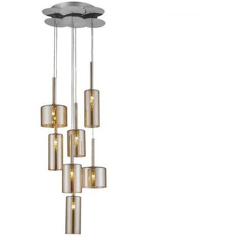 Lampara de Suspension Bibu Colgante - Cilindrica - de Techo - en Vidrio, 37 x 37 x 120 cm, 1 x G4 Led , 140W
