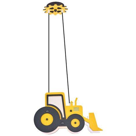Lampara de Suspension Bulldozer Colgante - para Dormitorio, Techo - Amarillo 41 x 12 x 100 cm, 2 x E14, 13W