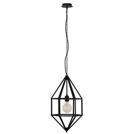 Lampara de Suspension Diamond - Luz de techo - para el Muro - Negro en Metal, 28 x 28 x 60 cm, 1xE/27 max 100W