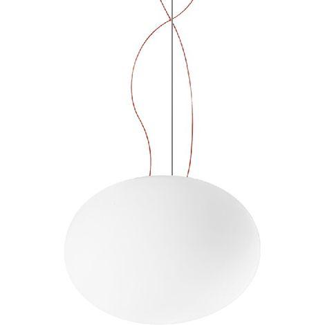 Lampara de Suspension Gilbert - Arana - Lampara de techo - Blanco, Rojo en Vidrio, 37 x 37 x 27 cm, 1 x E27, Max 150W, 220-240V