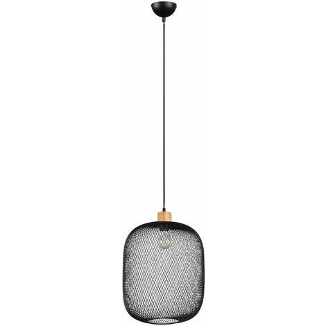 """main image of """"Lámpara de suspensión lámpara colgante vintage de metal negro lámpara jaula lámpara de techo de salón, decoración de madera, 1x E27, F x Al 33x150 cm"""""""