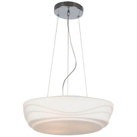 Lampara de Suspension Lantis Colgante - Redonda - de Techo - Blanco en Vidrio, Metal, 42 x 42 x 120 cm, 3 x E27, Max 40W