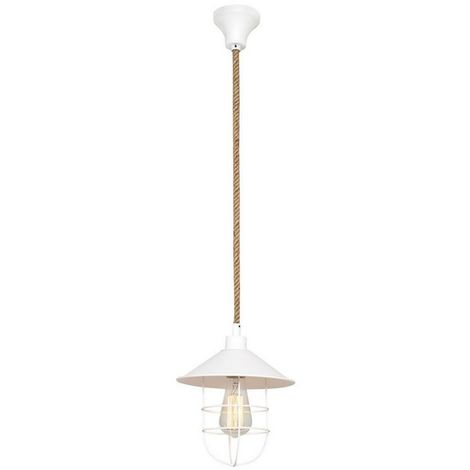 Lampara de Suspension Lelly Colgante - de Techo - Blanco en Metal, 22 x 22 x 120 cm, 1 x E27, 40W