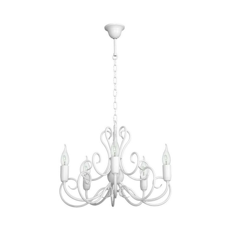 Lampara de Suspension Narcissus - Lampara de techo - Lampara de techo - Blanco en Metal, 50 x 50 x 80 cm, 5 x E14, 40W