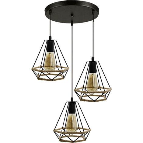Lámpara de Suspensión Nostalgia Clásica de 3 Cabezas Lámpara de Techo de Diamante de Cuerda de Cáñamo 20cm Araña Industrial Retro Negra para Dormitorio Tipo Loft