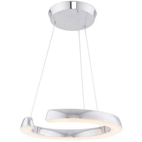 Lampara de Suspension Ring Colgante - de Techo - Cromo en Metal, 85 x 85 x 50 cm, 1 x Tira LED, 30W, 3150LM, 3000K Luz Blanca Natural