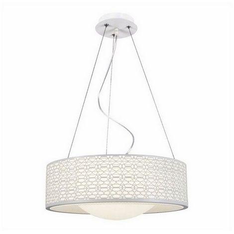 Lampara de Suspension Salvo Plafon - Redonda - de Pared - Blanco en Metal, 40 x 40 x 100 cm, 1 x Tira LED x 25W, 2625LM, 4000K Luz Blanca Natural