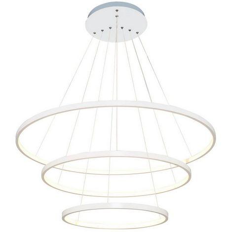 Lampara de Suspension Yorunge Colgante - Redondo - de Techo - Blanco en Metal, 80 x 80 x 120 cm, 1 x LED, 110W, 11550 LM, 3000K Luz Blanca Natural
