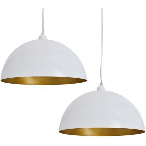 Lámpara de techo 2 uds altura ajustable semiesférica blanca