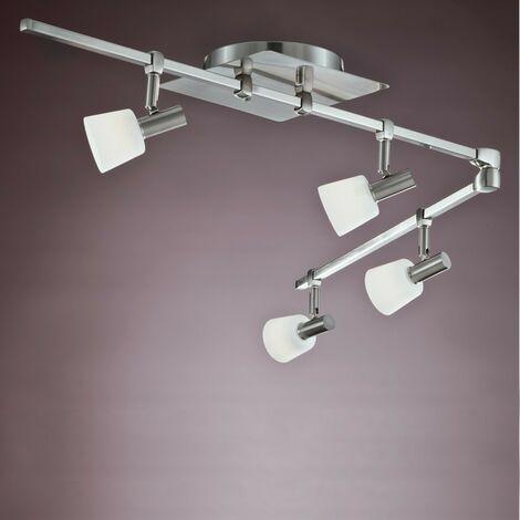 Lámpara de techo 4 focos articulado NEW KASTER NIQUEL CRISTALRECORD 013-2200-4-053