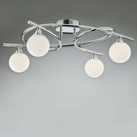 Lámpara de techo 4 luces LOTTO NIQUEL SATINADO CRISTALRECORD 001-2195-4-053