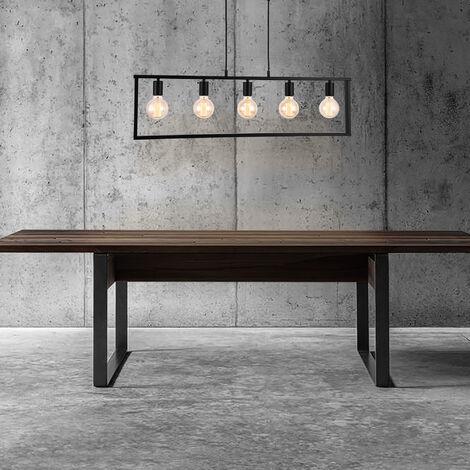 Lámpara de techo - 5 soportes - de diseño en negro (salón, comedor ...