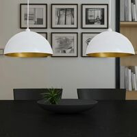 Lámpara de techo altura ajustable semiesférica blanca 2 uds