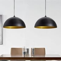 Lámpara de techo altura ajustable semiesférica negra 2 unidades