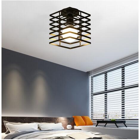 Lámpara de Techo Antigua Vintage Lámpara de Jaula de Metal Negro Lámpara de Techo de Hierro E27 Lámpara de Techo Retro Industrial para Dormitorio Sala de Rstar Comedor
