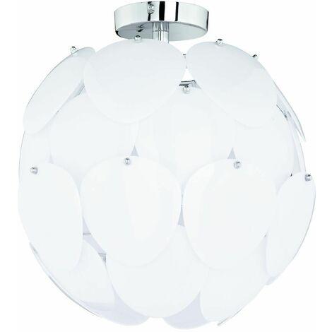 Lámpara de techo bola enchufable puzzle lámparas de techo de disco redondo, metal cromado blanco, 1x E27, FxH 40x40 cm