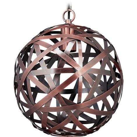 Lámpara de techo, Bola, Industrial, E27, Salón & Dormitorio, Colgante, Ø 29 cm, Cobre