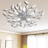 Lámpara de techo brazos de cristal forma hoja 5 bombillas E14