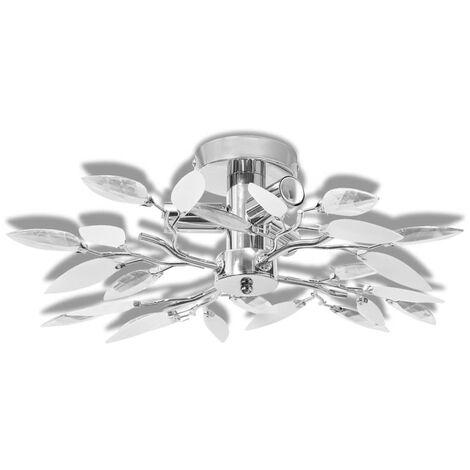 vidaXL Lámpara de techo con brazos de cristal hojas blanco morado E14   - Blanco