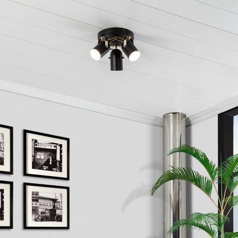 Lámpara de Techo Circular Orientable Cano 3 Focos Negro Negro