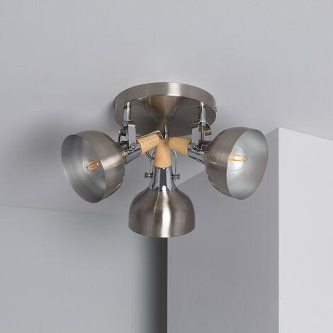 Lámpara de Techo Circular Orientable Emer 3 Focos Plata PlataPlata