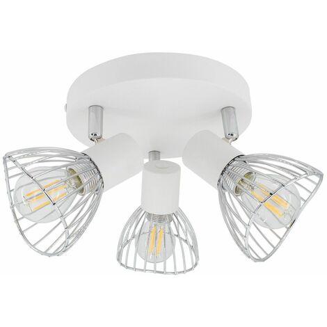 Lámpara de Techo Circular Orientable Saban 3 Focos Blanco Blanco