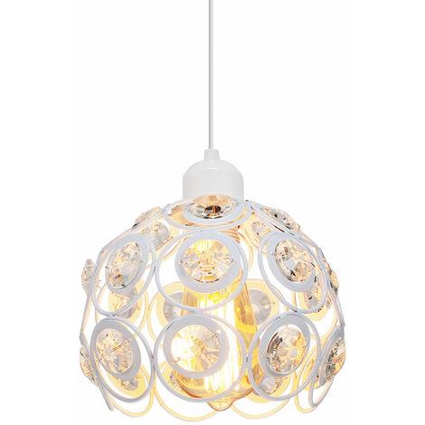 Lámpara de Techo Clásica Retro de Ø20cm Lámpara Colgante de Cristal Moderna Lámpara de Techo de Metal Creativa para Dormitorio Bar Oficina Blanco