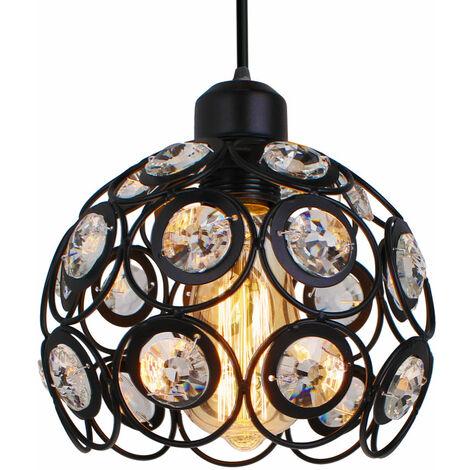 Lámpara de Techo Clásica Retro de Ø20cm Lámpara Colgante de Cristal Moderna Lámpara de Techo de Metal Creativa para Dormitorio Bar Oficina Negro