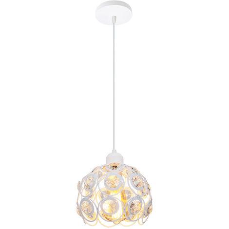 Lámpara de Techo Clásica Retro de Ø26cm Lámpara Colgante de Cristal Moderna Lámpara de Techo de Metal Creativa para Dormitorio Bar Oficina Blanco