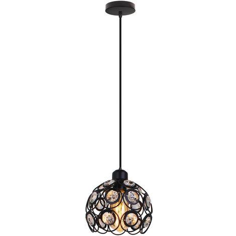 Lámpara de Techo Clásica Retro de Ø26cm Lámpara Colgante de Cristal Moderna Lámpara de Techo de Metal Creativa para Dormitorio Bar Oficina Negro