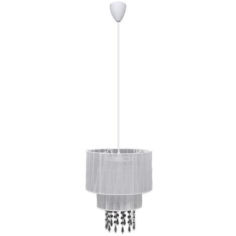 Lámpara de techo colgante blanca con cristales