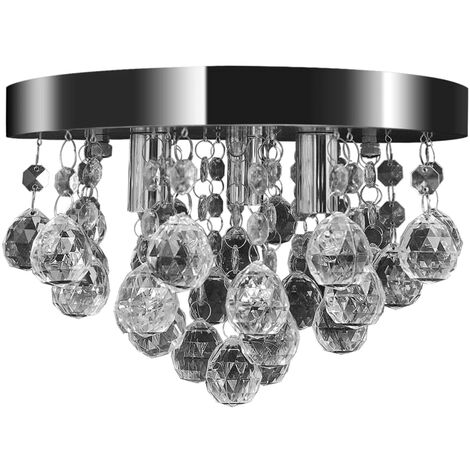 vidaXL Lámpara de techo de cristal diseño cromado - Trasparente