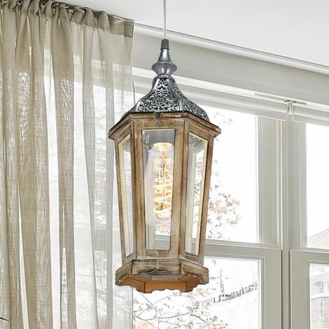 Lámpara de techo colgante de madera linterna colgante lámpara de comedor de color marrón plateado en el conjunto incluyendo bombillas LED