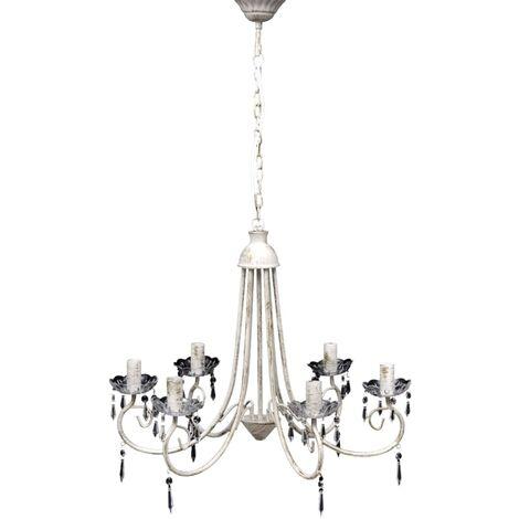 Lámpara de techo colgante elegante araña blanca 6 bombillas