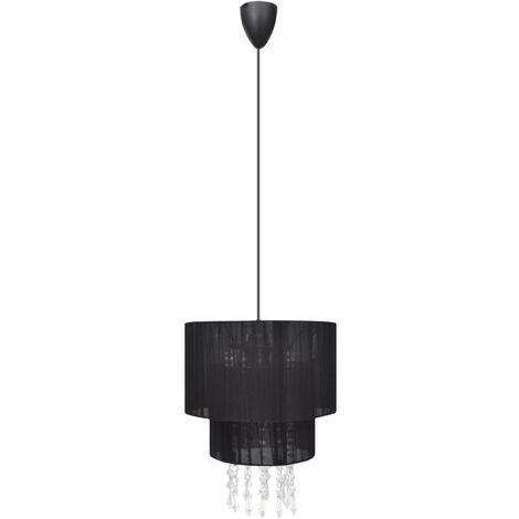 Lámpara de techo colgante negra con cristales